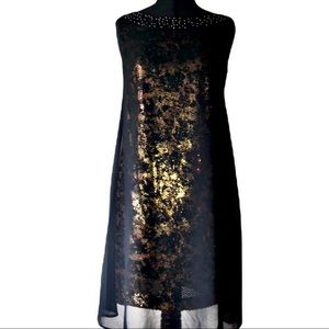 Jessica Simpson Swing Dress Black and Gold…